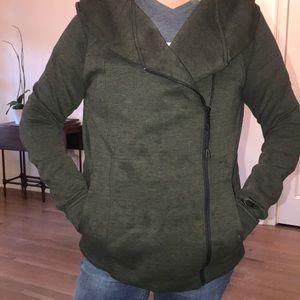 nike side zip army green heavy hoodie